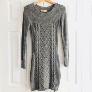 🎃 Hollister Gray Cable Knit Bodycon Sweater Dress